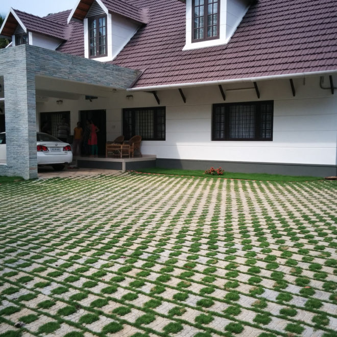 Garden paver laid on a kerala house